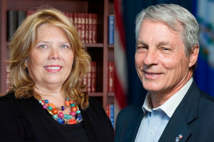 Democratic challenger Mary Daugherty Abrams (left) and Republican state Sen. Len Suzio, D-Meriden, will participate in a candidate forum at Washington Middle School at 6 p.m. on Thursday.