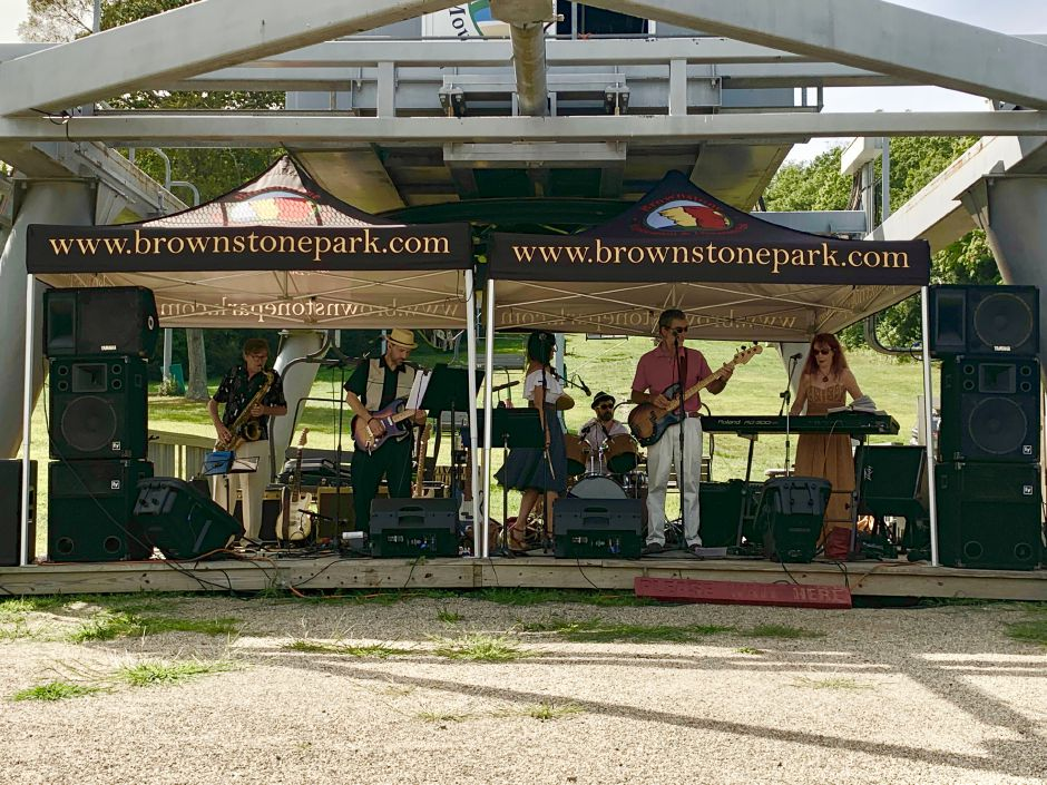 Eight to the Bar taking the stage at the Bring It To The Light music festival at Powder Ridge. Photo by Everett Bishop, Town Times.