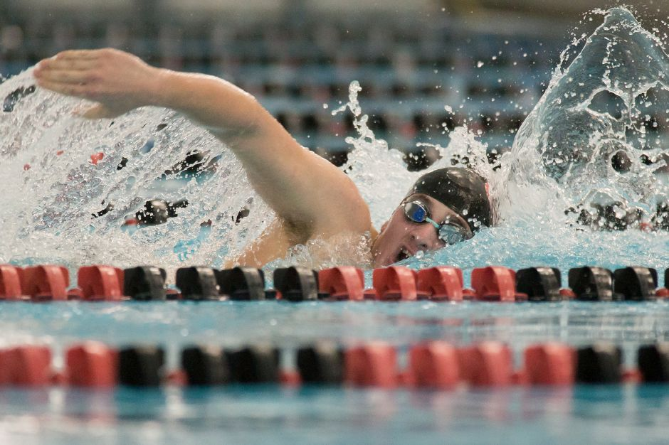 Sam Hanke won two individual events and swam on two first-place relays in Cheshire's victory Monday night over Amity at Cheshire Community Pool. | Justin Weekes / Special to the Record-Journal