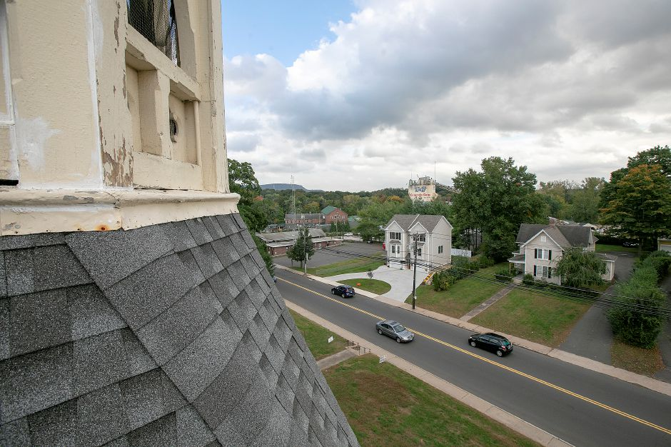 View of West Main Street from the steeple of Plantsville Congregational Church as renovations continue there, Tuesday, Oct. 9, 2018. Dave Zajac, Record-Journal