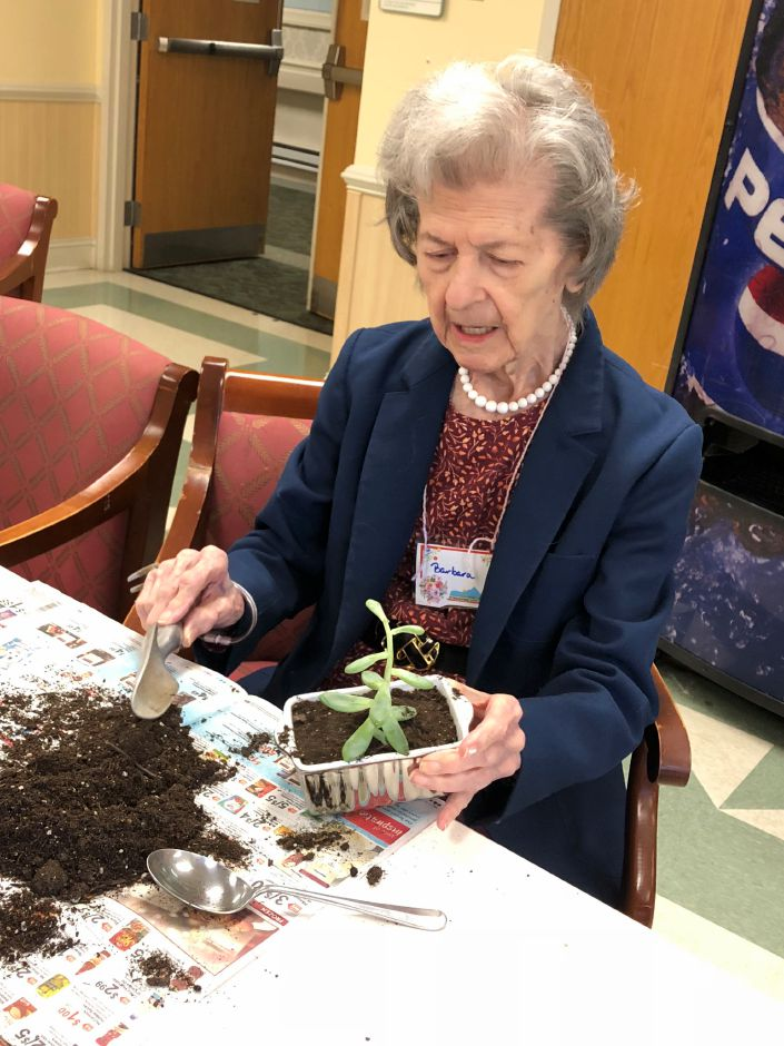 Barbara Daney enjoyed planting her succulent.