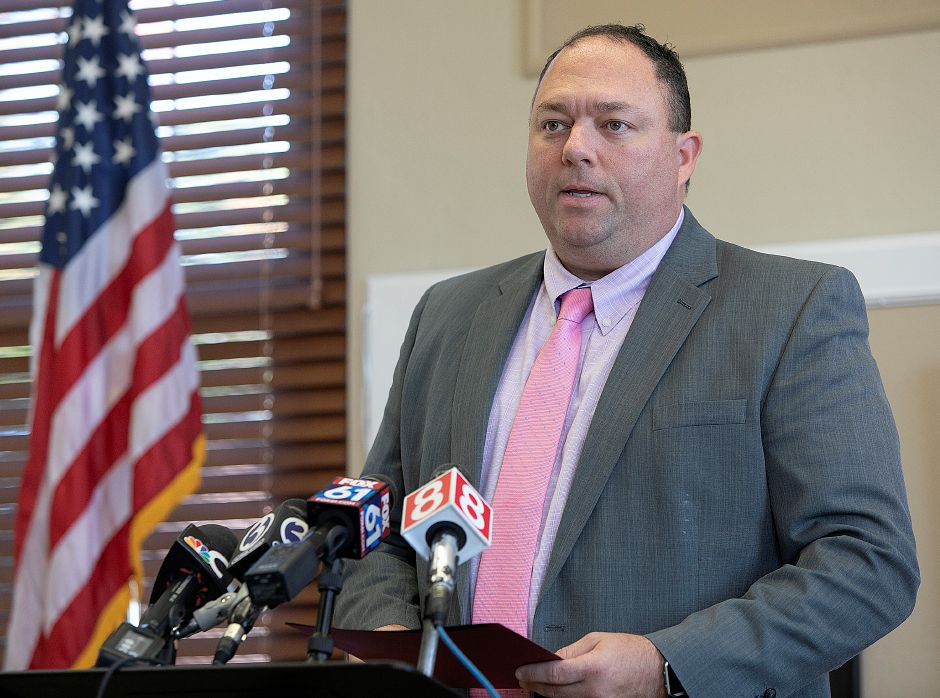 Cheshire School Superintendent Jeff Solan describes the impact teacher Megumi Yamamoto had on Cheshire High School during a press conference at the Cheshire Board of Education, Friday morning, Oct. 5, 2018. Dave Zajac, Record-Journal