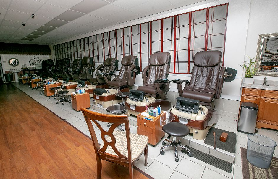 Interior of Sun Nails Salon at 826 E. Center St., Wallingford, Thurs., Mar. 14, 2019. A vehicle crashed into the nail salon Thursday morning, significantly damaging the storefront. Dave Zajac, Record-Journal