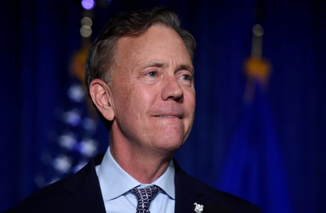 Governor-elect Ned Lamont reacts when speaking to supporters in Hartford, Conn., Wednesday, Nov. 7, 2018. Lamont won election Wednesday as Connecticut