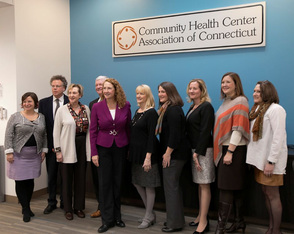 Congresswoman Elizabeth Esty (CT-5) poses with officials from the Community Health Center Association of Connecticut (CHCACT) in Cheshire, Monday, February 12, 2018. Dave Zajac, Record-Journal