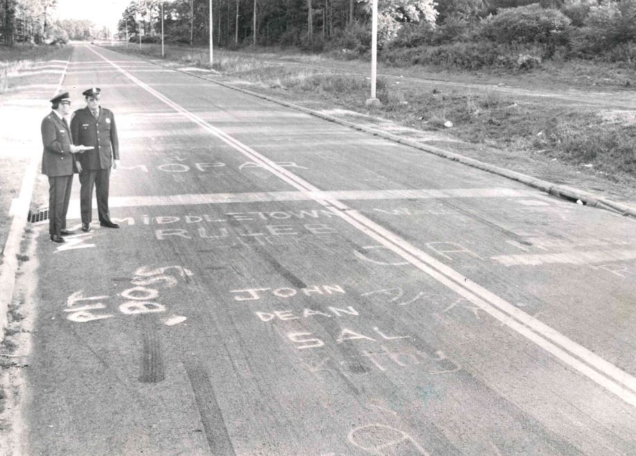 Left: Police at a section of the Research Parkway drag strip in September 1974. Right:  The area of the former Research Parkway drag strip as seen in August 2011.
