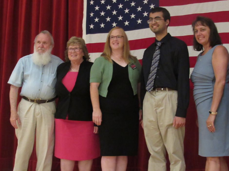 The slate of Republican candidates for Wallingford Board of Education, endorsed at the Republican Town Committee caucus at Dag Hammarskjold Middle School, July 17, 2019. From left: Ray Ross, Karen Hlavac, Erin Corso, Rajan Doering, Tammy Raccio. Absent: Autumn Allinson. | Lauren Takores