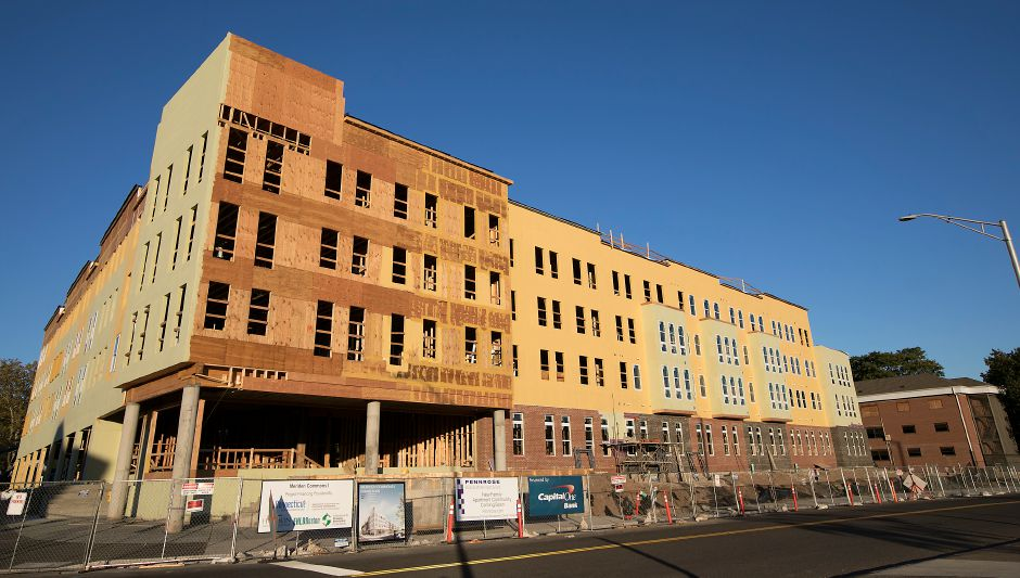 The Meriden Commons under construction at the corner of Mill Street and State Street in Meriden, Tuesday, October 17, 2017. Meriden Commons phase I has reached the halfway point and is on schedule, according to project developers. | Dave Zajac, Record-Journal