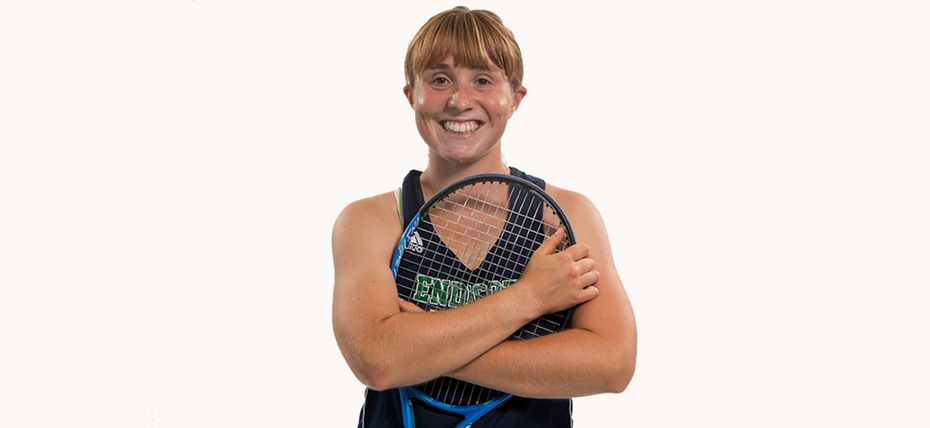 Wallingford native Justine Hoover, a freshman at Endicott College, has been named Commonwealth Coast Conference rookie of the year in women's tennis. | Photo courtesy of Endicott College