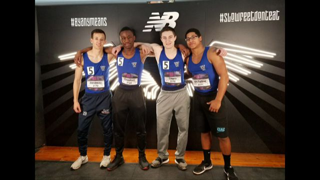 Lyman's Hall sprint medley relay team of (left to right) Blake Jandreau, Jordan Crawford, Robert Ottens and Randy McFarline broke its own school record in finishing seventh in the Emerging Elite Division at the New Balance Indoor Track Nationals over the weekend at the New York Armory. | Photo courtesy of David Palmer