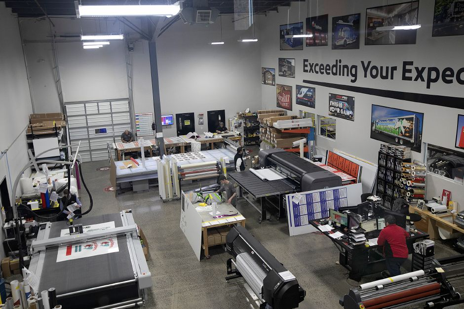 The printing area of Sign Pro in Southington, Wed., Nov. 14, 2018. The business is now completely powered by solar energy. Dave Zajac, Record-Journal