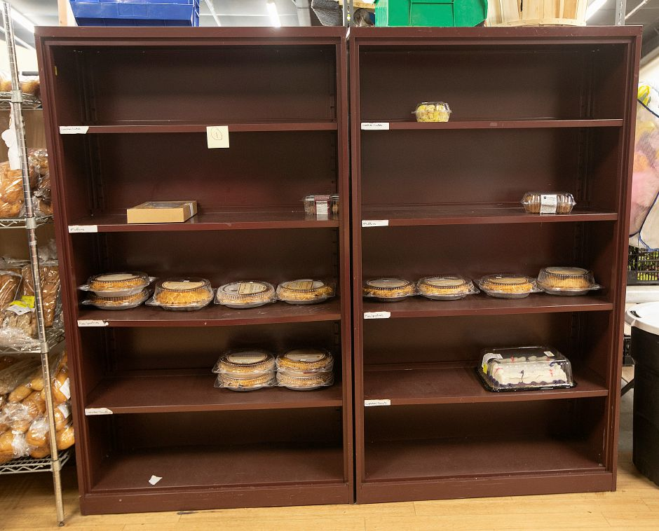 A sparse bakery shelf at Master