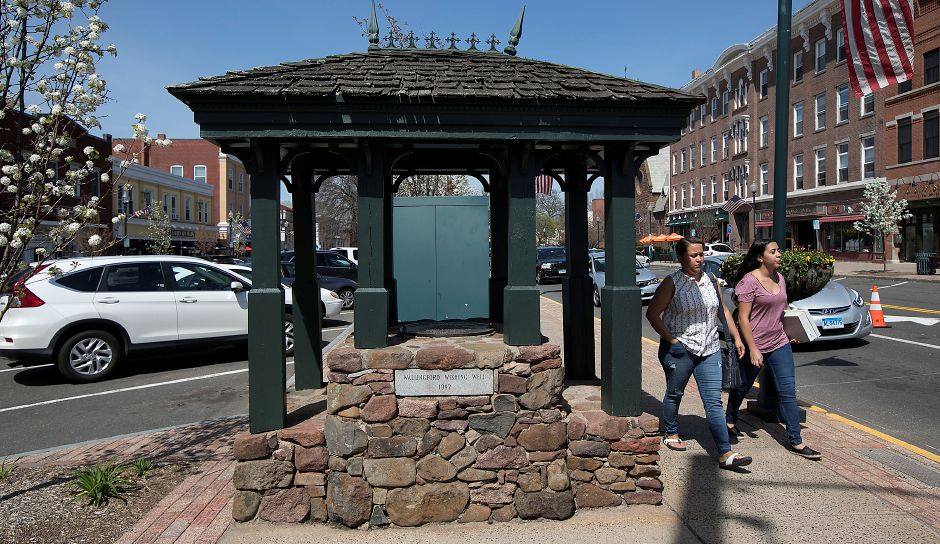 The Wallingford Wishing Well at the intersection of North Main and Center streets in Wallingford, Wednesday, May 2, 2018. The well was installed in 1992. Dave Zajac, Record-Journal