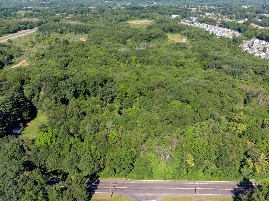 The large Cheshire-parcel slated for a proposed retail and residential development extends from Highland Avenue to Dickeman Road along Interstate 691. | Richie Rathsack, Record-Journal
