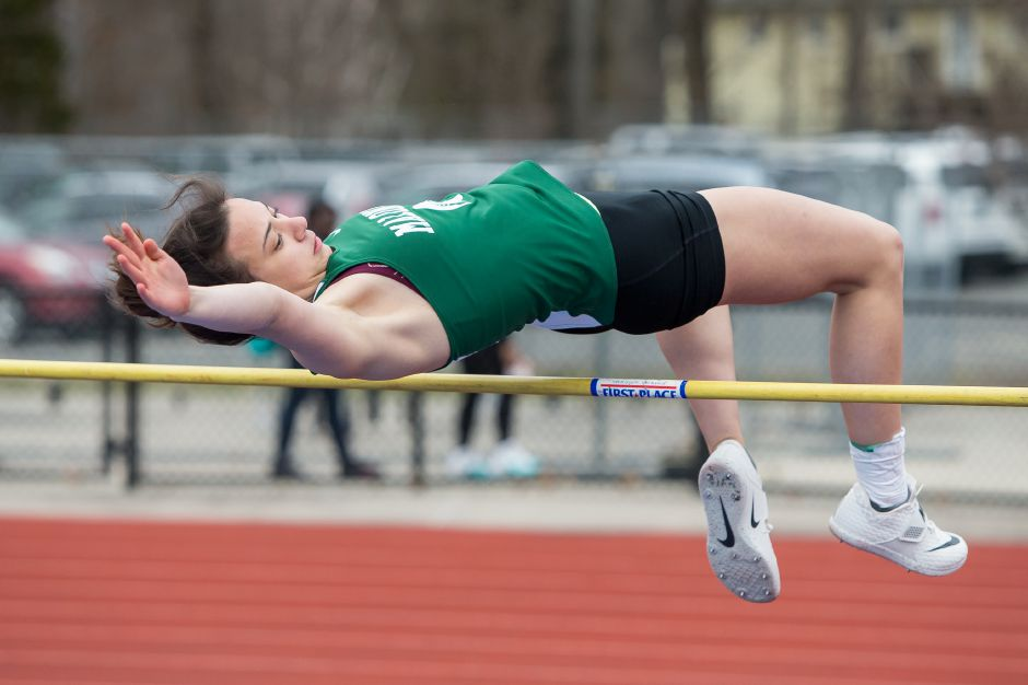 Maloney's Anne Bekasi broke a 31-year-old Maloney track and field record when she cleared 5 feet, ¼ inch in the high jump this week at the CIAC heptathlon at Manchester High School. | Justin Weekes / Special to the Record-Journal
