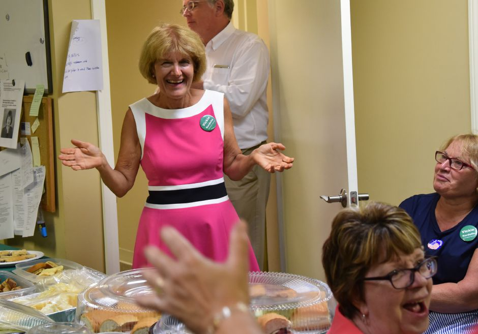 Vickie Nardello provides some positive words to her supporters who gathered with her in Southington to await the results of the 16th Senate primary on Tuesday, August 14. Nardello narrowly won the democratic primary against Dagmara Scalise. | Bailey Wright, Record-Journal