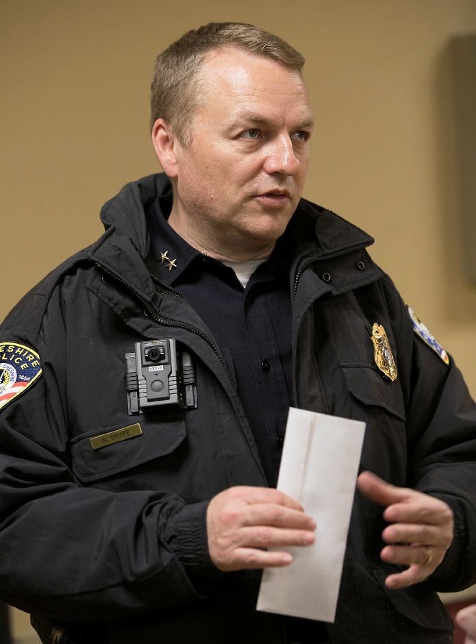 FILE PHOTO – Cheshire Police Chief Neil Dryfe speaks after a community meeting and check presentation at Elim Park Retirement Community in Cheshire, Thursday, Feb. 8, 2018. Dave Zajac, Record-Journal