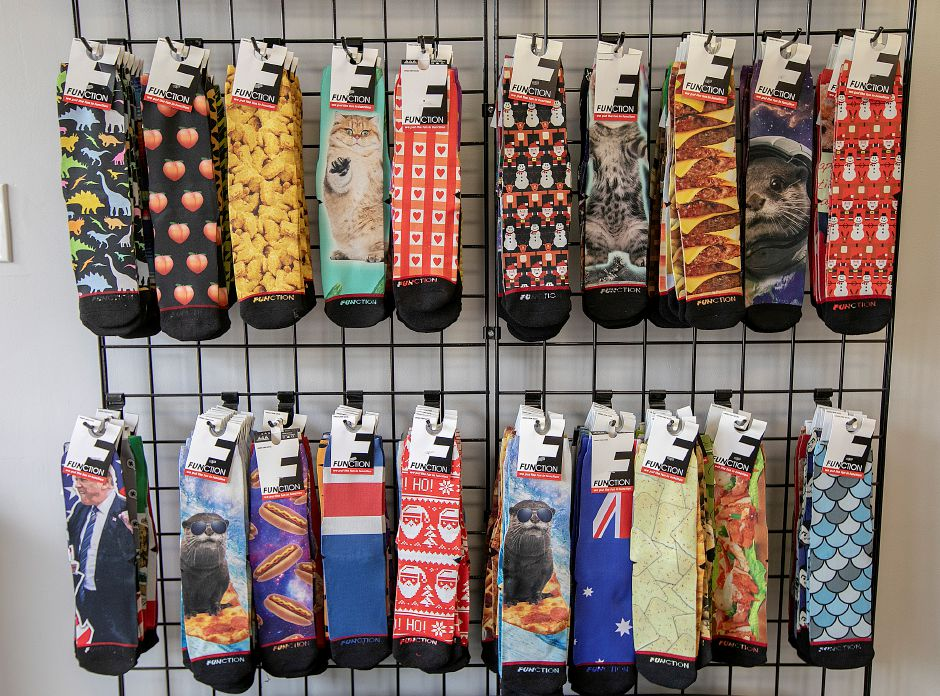 Function brand socks available at Micro Print Shop, 216 Center St., Wallingford, Thurs., May 9, 2019. Dave Zajac, Record-Journal