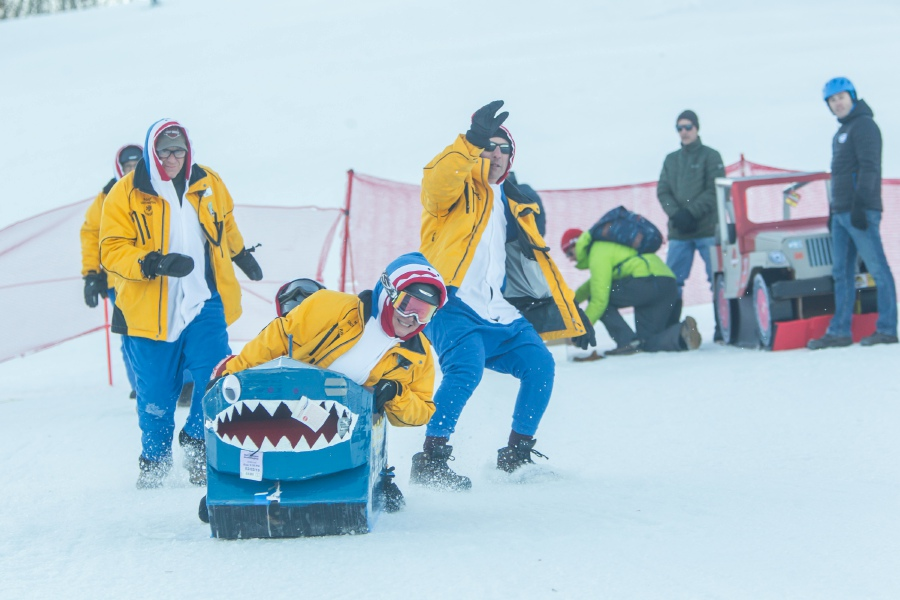 Team Ranger Shark (Joel Conte, Dan Greybowski, Tina Hans. Rick Hans. Liz Smith and Autumn Smith) making their first run at Mount Southington. They participated in the annual Cardboard Box Race on Saturday.| Ron Paris, Special to the Record-Journal
