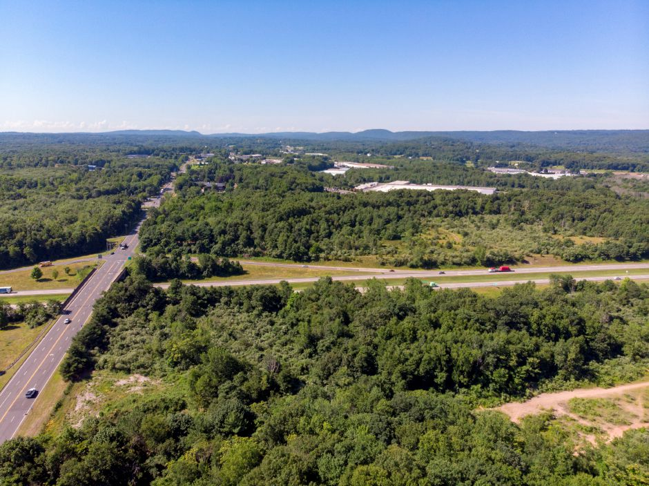 The Cheshire property proposed for development, lower right, borders Route 10 on one side and Interstate 691 on the south. | Richie Rathsack, Record-Journal