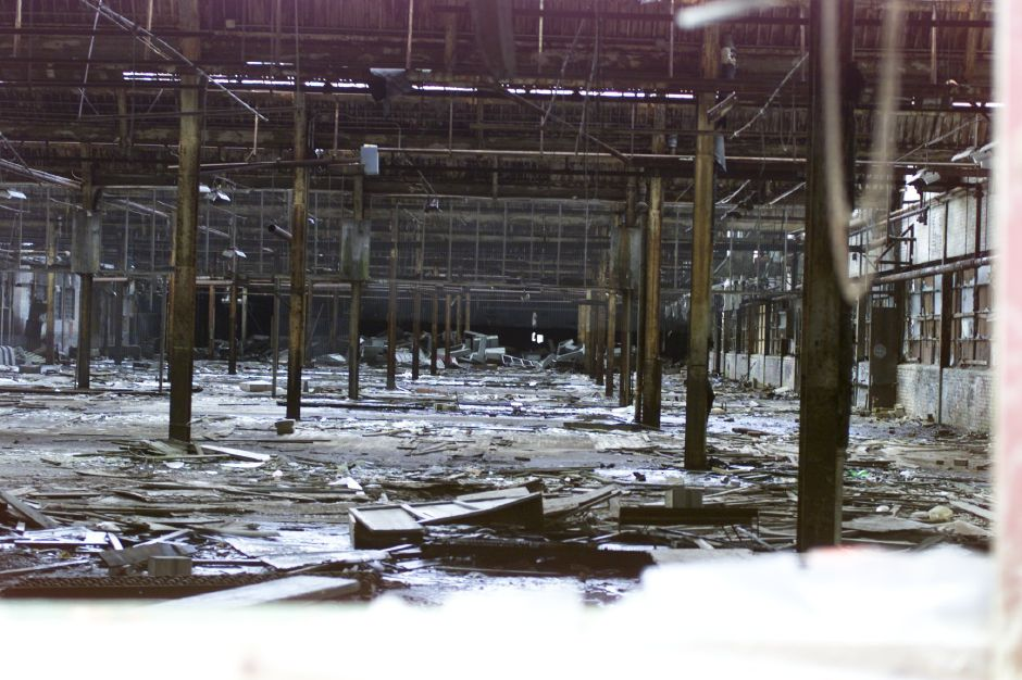 The fire-gutted interior of Factory H.