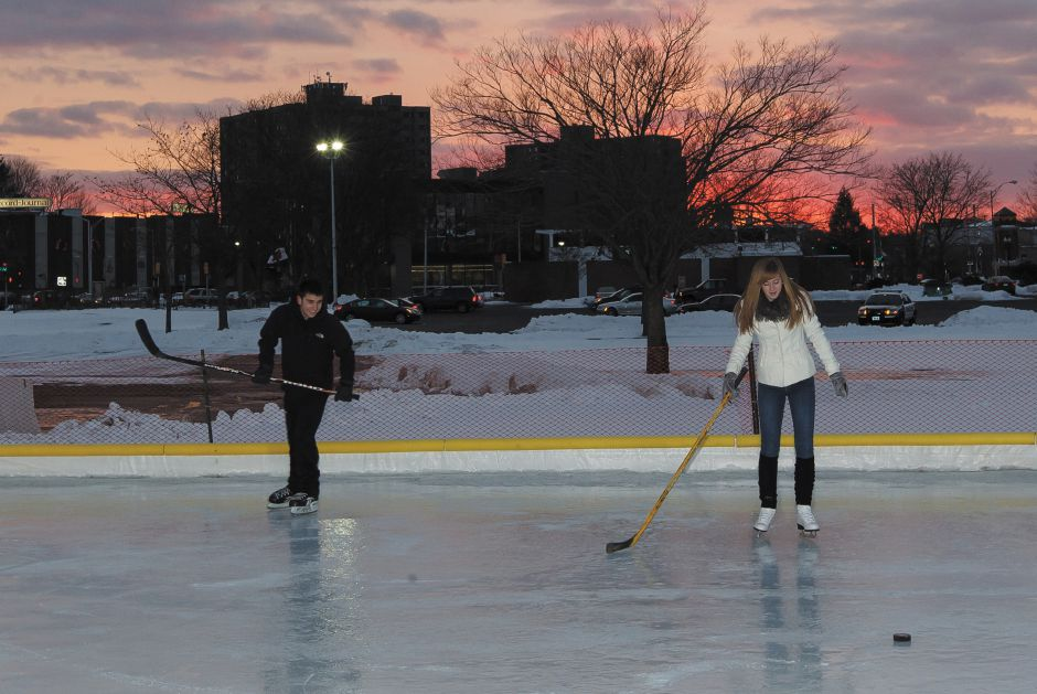 Nick Sinopoli Meriden 17 and Brooke Gambardella Meriden 17 try out the ice rink with a game of hockey at the Hub