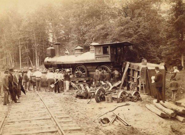 A train derailment on the Meriden & Cromwell Railroad, circa 1894-97.