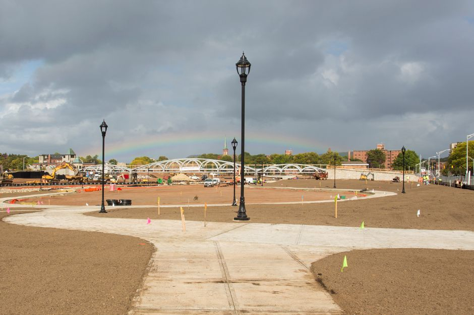 A rainbow briefly appeared above the Hub site in downtown Meriden Tuesday Sept. 29, 2015. | Richie Rathsack/Record-Journal