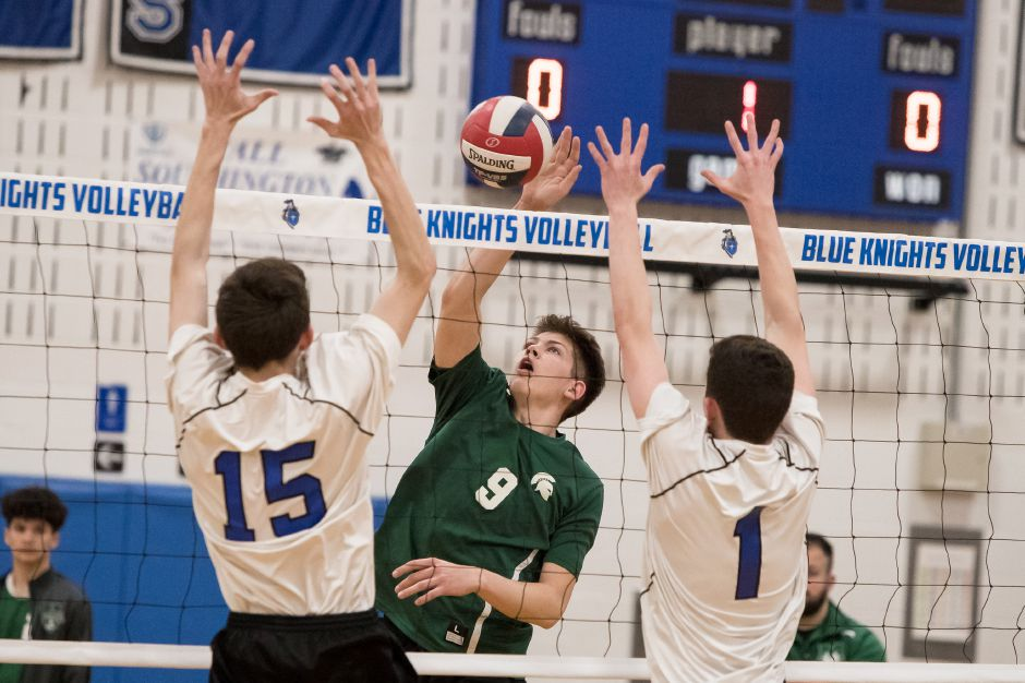 Russell Lozowski racked up 14 kills and 10 digs in Maloney's 3-1 boys volleyball victory over Bulkeley on Friday. | Justin Weekes / Special to the Record-Journal