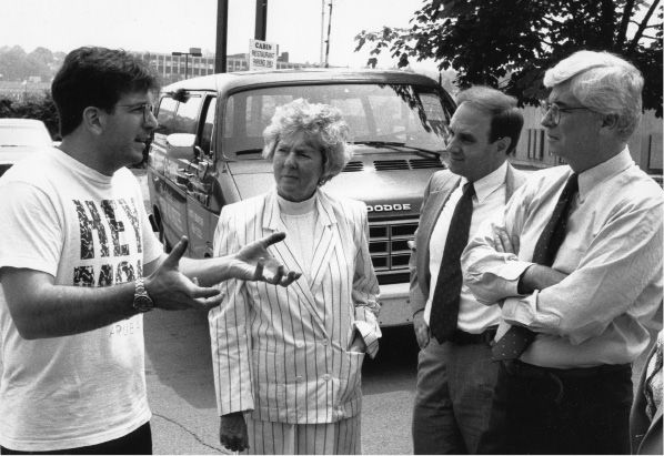 (Left to right) Sebastian Paguni Jr. of the Cabin Restaurant, state Sen. Amelia Mustone, state Rep. William DeZinno and U.S. Sen. Chris Dodd. June 7, 1992.