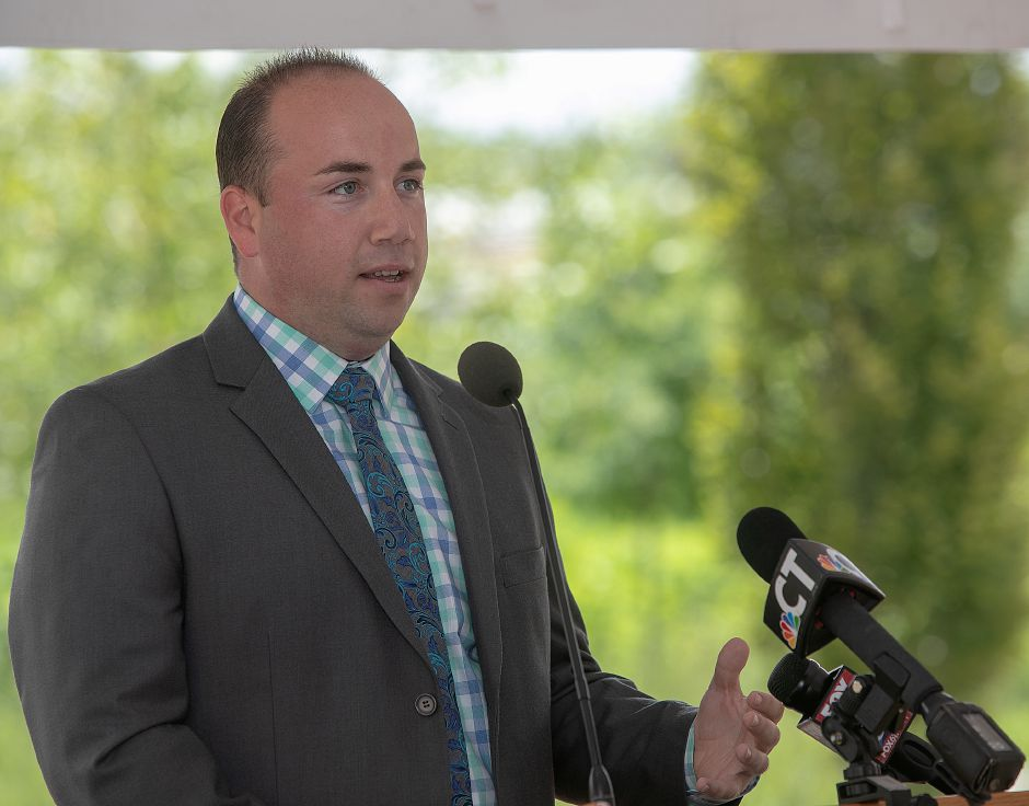 Mayor Kevin Scarpati speaks on the Meriden Green, Tuesday, July 24, 2018. Dave Zajac, Record-Journal