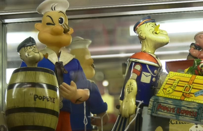 Many Popeye figures can be found at the museum.