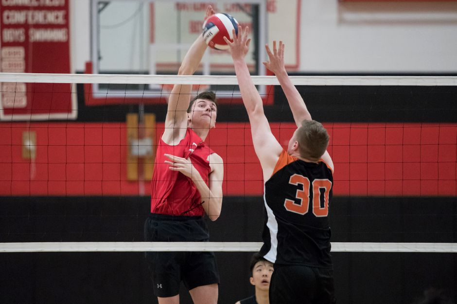 SCC Player of the Year Colby Hayes collected nine kills, three blocks and three aces to help Cheshire sweep Masuk 3-0 in the quarterfinals of the Class M boys volleyball state tournament on Friday in Cheshire. | Justin Weekes / Special to the Record-Journal