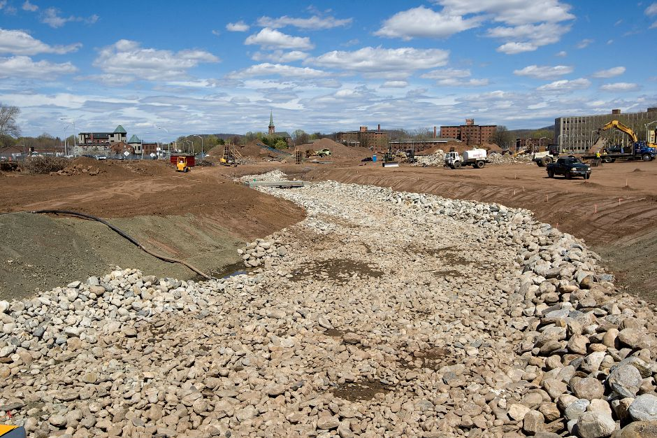 A rock bed for the future Harbor Brook on the 14-acre Meriden Hub site Wednesday, April 29, 2015. | Dave Zajac / Record-Journal