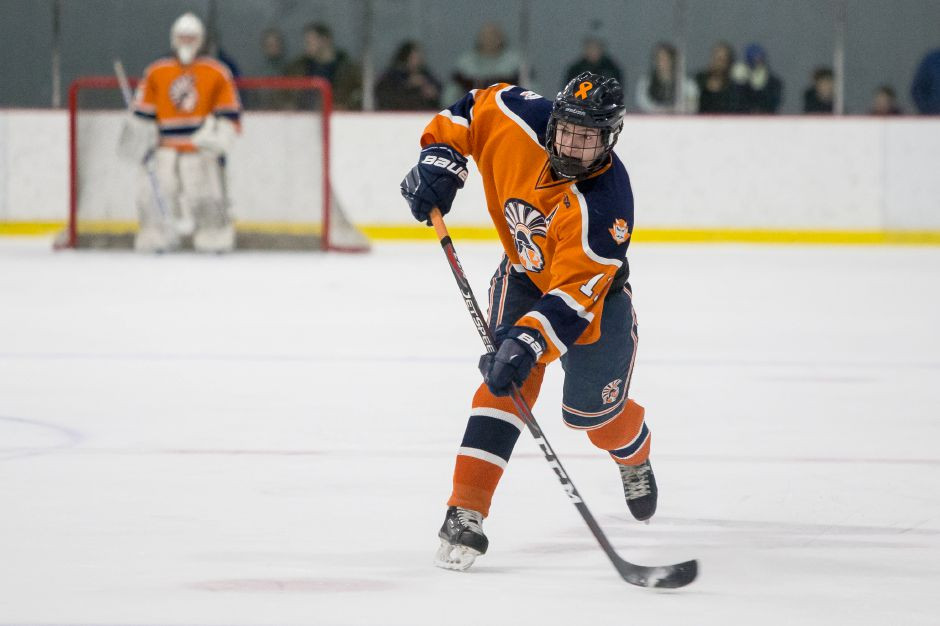 Still only a junior, Matt Pettit notched career point No. 100 for the Lyman Hall Co-op hockey team in Sunday night's 7-5 win over JBWA. | Justin Weekes / Special to the Record-Journal