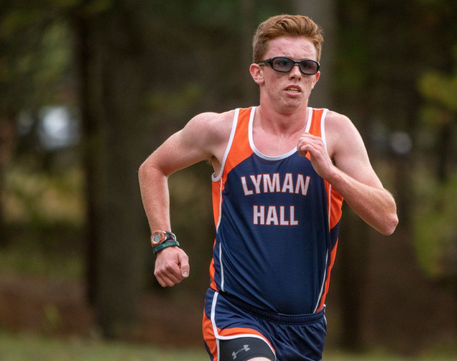 Lyman Hall's Jack Murphy finishes fourth in Tuesday's Wallingford cross country meet at Wharton Brook State Park. Photos by Aaron Flaum, Record-Journal