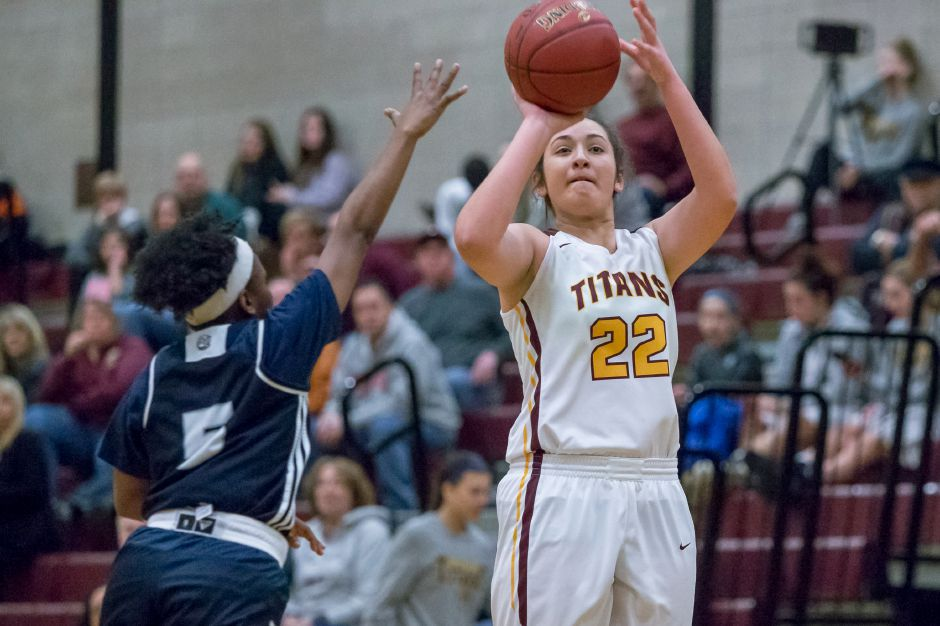 Liv Robles scored a team-high 17 points for Sheehan on Wednesday night against Mercy. Robles is 14 shy of 1,000 for her career. She and the Titans take the floor again Friday for a home game against Amity. | Justin Weekes / Special to the Record-Journal
