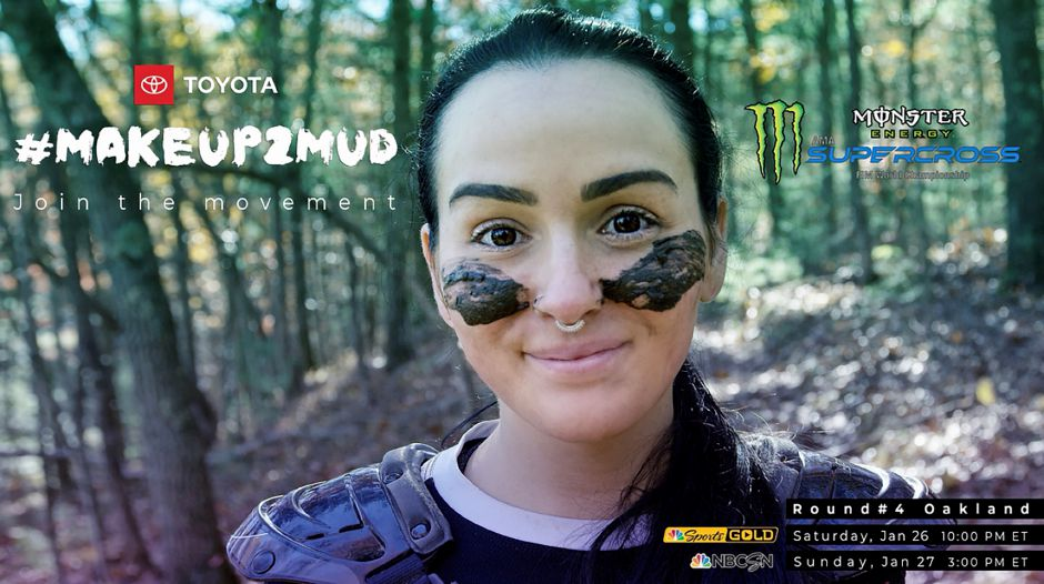 Erika Hurst, owner of Hurst Strength in Wallingford, featured in an ad for Toyota #makeup2mud. Courtesy Toyota #makeup2mud