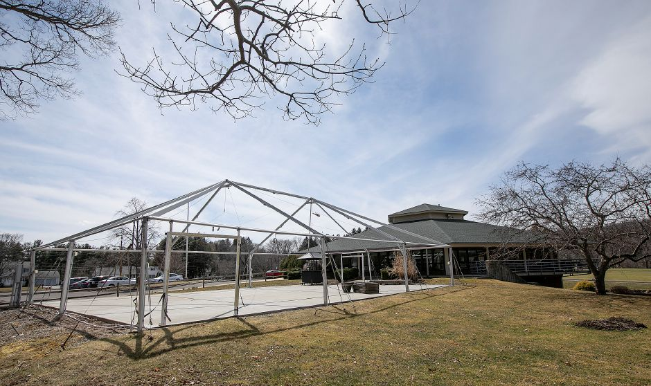 A seasonal tent structure for events and outings next to Violi
