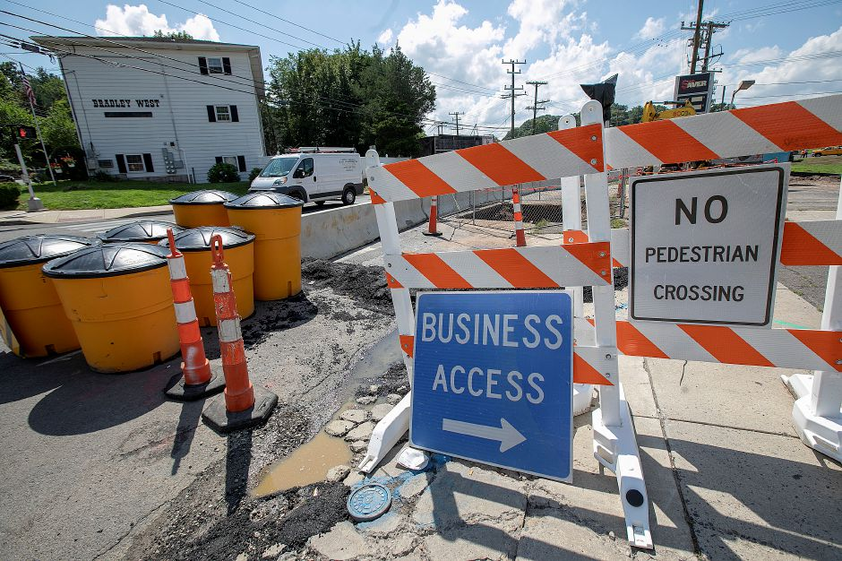 Construction at the Sodom Brook bridge on West Main Street in Meriden, Tuesday, August 14, 2018. The state Department of Transportation has started construction on the Sodom Brook bridge replacement project, which will take roughly two years to complete. Dave Zajac, Record-Journal