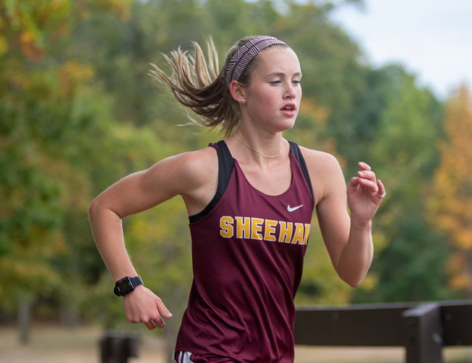 Sheehan's Lizzie Brown finished first Tuesday in her  third straight race between  Sheehan and Lyman Hall.