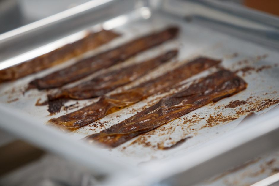 Vegan bacon prepared Wednesday at Arles and Boggs Vegan Eatery in Wallingford October 10, 2018 | Justin Weekes / Special to the Record-Journal