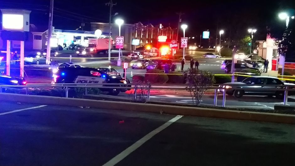 The scene of an officer-involved shooting on East Main Street in Meriden Oct. 18. | Photo courtesy of Gio Cumba.