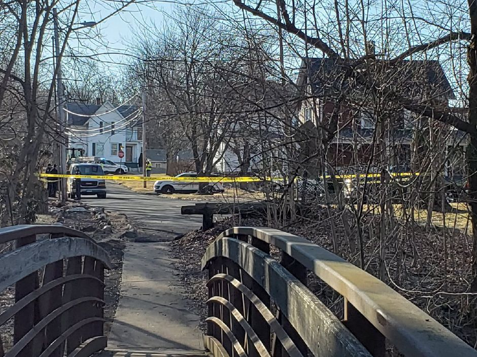 Police investigated the area of Henry Street in Wallingford after a report of a grenade found. March 19, 2019. | Lauren Sellew, Record-Journal