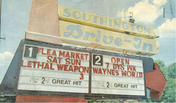 Southington Drive-in marquee on June 21, 1992. | Record-Journal archives