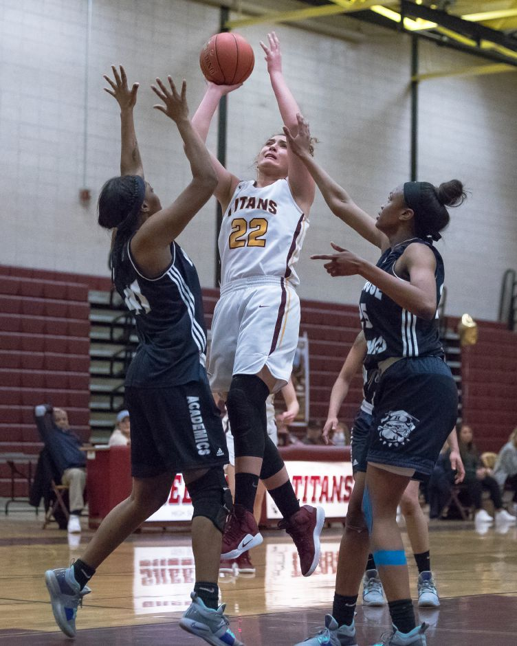 Liv  Robles (22) and the Sheehan Titans, seeded No. 13 in the Class M state tournament, open at home Tuesday night against No. 20 Prince Tech. Justin Weekes, Special to the Record-Journal