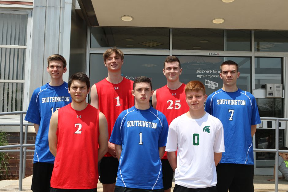 Introducing the 2019 All-Record-Journal Boys Volleyball Team. The specialists in front, left to right, are Cheshire setter Luke Pinciaro, Southington setter Zack Morgan and Maloney libero Devin Juan. The hitters in back, left to right, are Southington's Adam Hunter, Cheshire teammates Aidan Godfrey and Colby Hayes, and Southington's Tim Walsh. Spencer Davis, Record-Journal