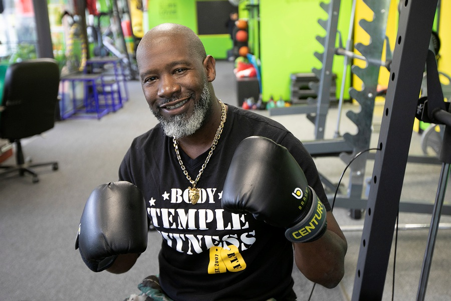 Terrace Johnson, owner of Body Temple Fitness, puts up his dukes on Thursday inside the gym in Wallingford. The business will celebrate 10 years in town with a block party on Oct. 19 from 12:30 to 3:30 p.m.Photos by Dave Zajac, Record-Journal