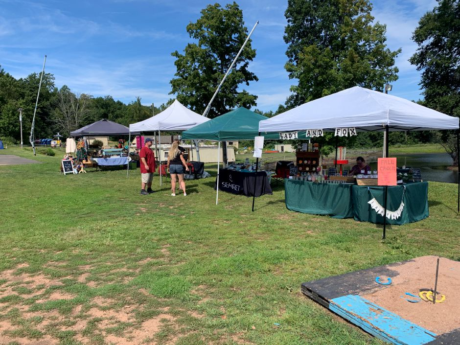 Some of the vendors set up at the festival. Vendors sold jewelry, handmade soap and candles, clothing and more. Photo by Everett Bishop, Town Times.