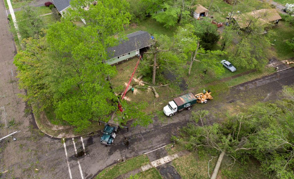 Crews work on the storm debris near the corner of Birch Drive and Blakeslee Road in Wallingford May 17, 2018. | Richie Rathsack, Record-Journal